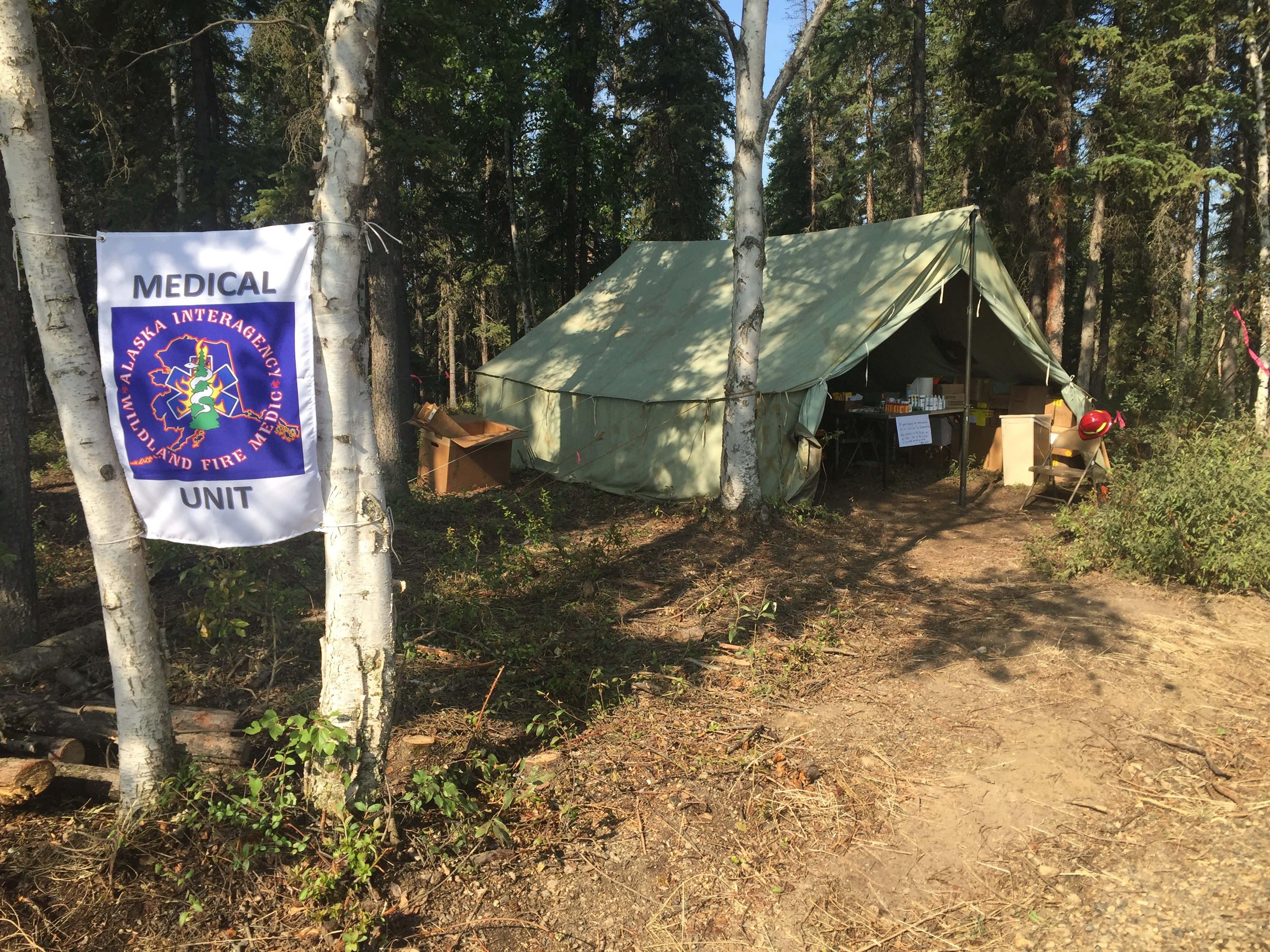 Photo of Fire Medic Tent on the Chalkyitsik Complex on July 30, 2019.