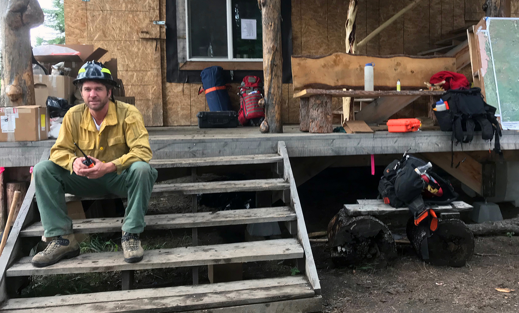 Photo of Fire Medic Evan Dale while assigned to the Hadweenzic River Fire in August 2019.