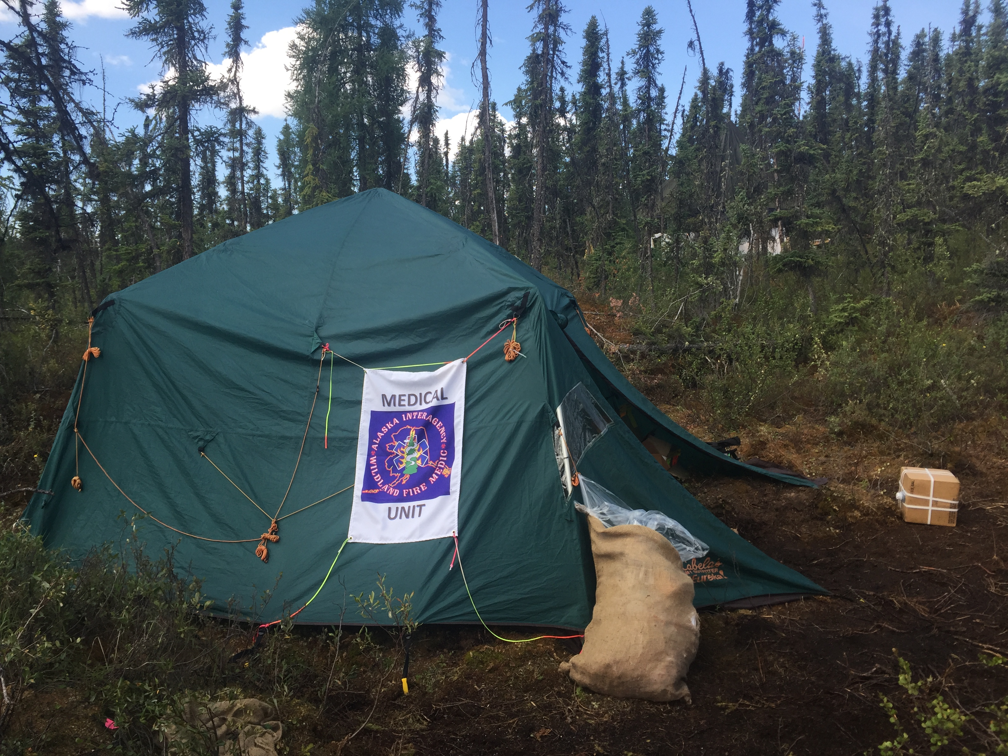 A photo of a Fire Medic tent on a remote fire in Alaska.