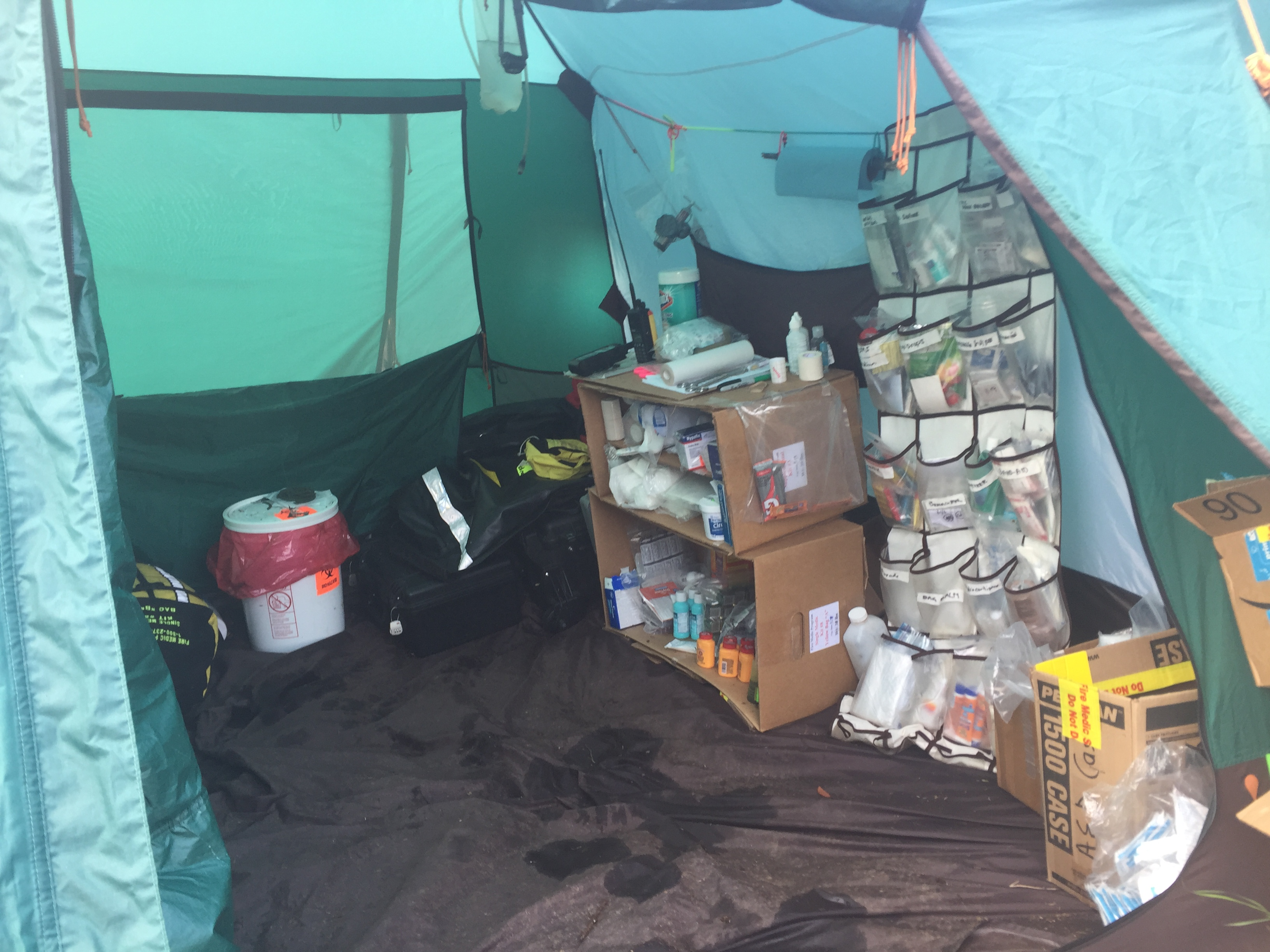 Photo of the inside of a Fire Medic tent on a remote fire in Alaska.