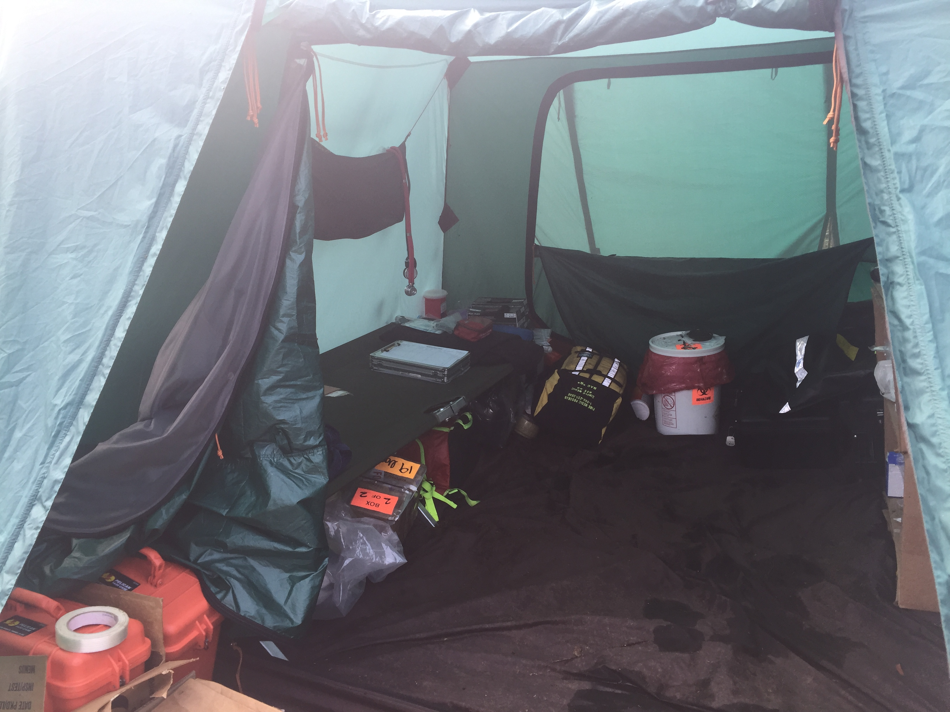 Photo of the inside a Fire Medic tent on a remote fire in Alaska.