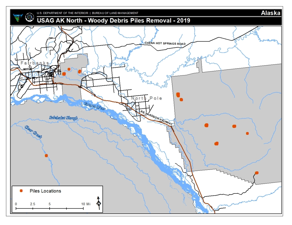 Map of woody debris piles slated to be burned on Fort Wainwright main post, Tanana Flats Training Area and Yukon Training area starting as early as Saturday, Sept. 21.
