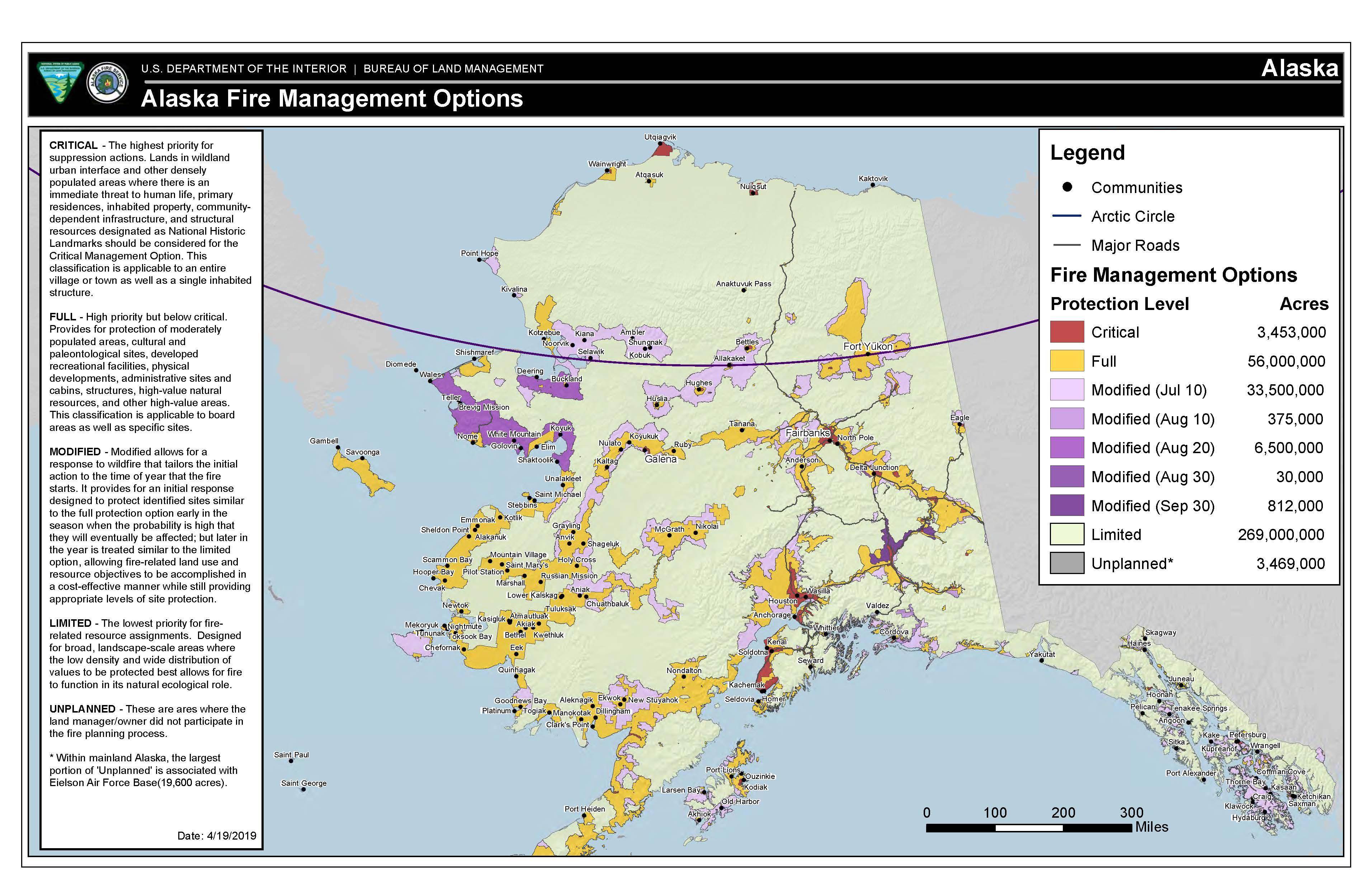 Map of Alaska fire management option areas.
