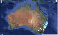Google map of Australia with fire icons.