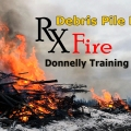 Decorative graphic for debris pile burning on military training lands.