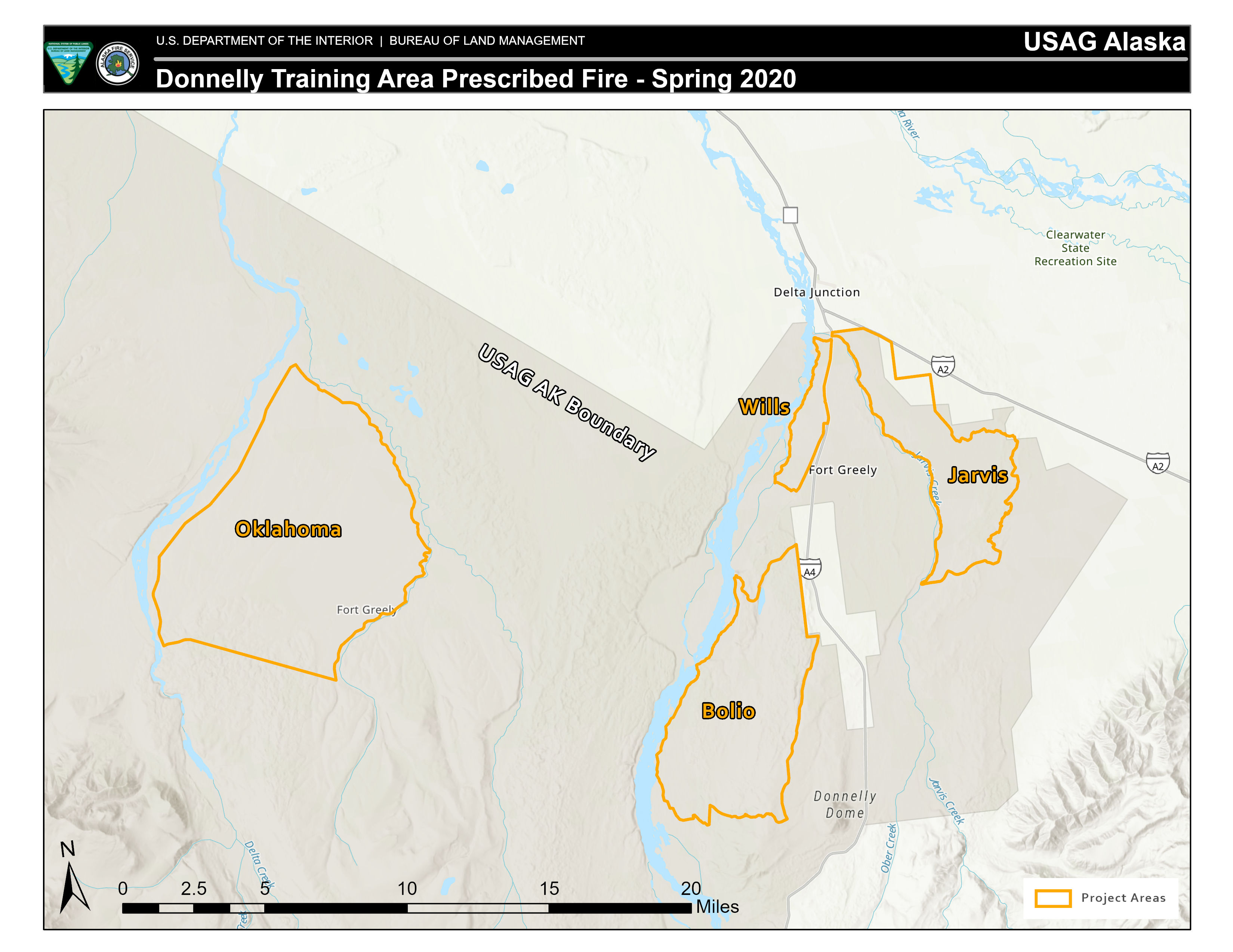 Map of planned prescribed burns in the Donnelly Training Area.