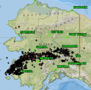 Map of lightning throughout Alaska on May 31, 2020