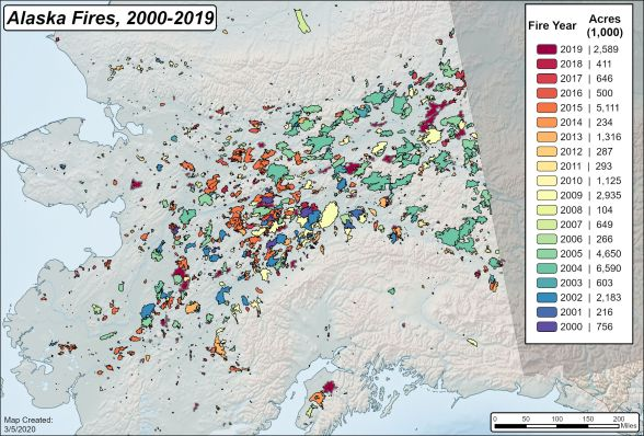 Map of Alaska fire history 2000-2019.