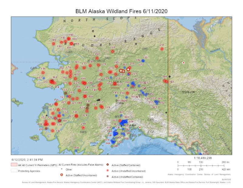 Map of fire activity in Alaska.