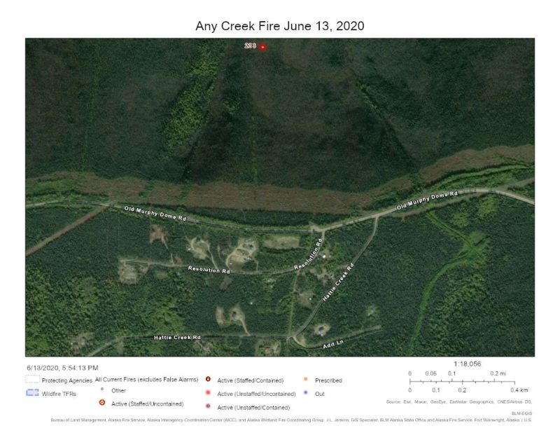 Map of Any Creek fire on June 13, 2020.