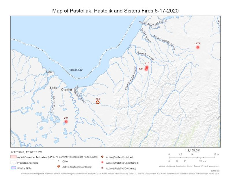 Map of Pastoliak (#280), Pastolik (#279), and Sisters (#281) Fires.