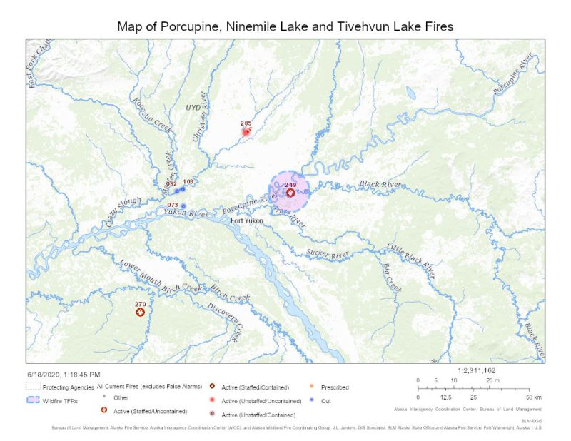 Map of Porcupine, Ninemile and Tivehvun Lake Fires