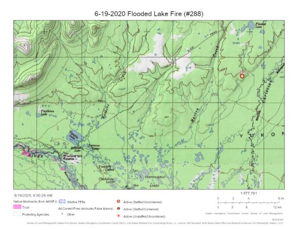 Map of Flooded Lake Fire northeast of Venetie.