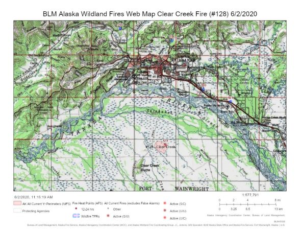Map of Clear Creek Fire burning in the Tanana Flats Military Training Area on June 2, 2020.