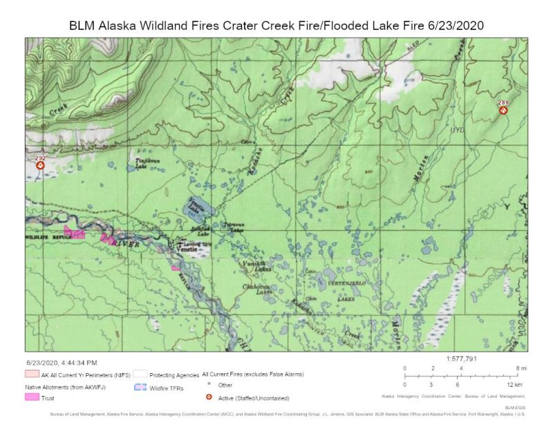 Map of Crater Creek Fire (#293) and Flooded Lake Fire (#288) burning north of Venetie on June 23, 2020.