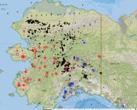 Map of Alaska showing fire and lightning strikes for June 4, 2020.