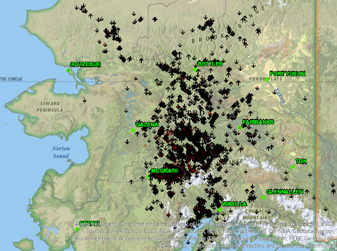 Map of lightning caused fires in Alaska on June 5, 2020.