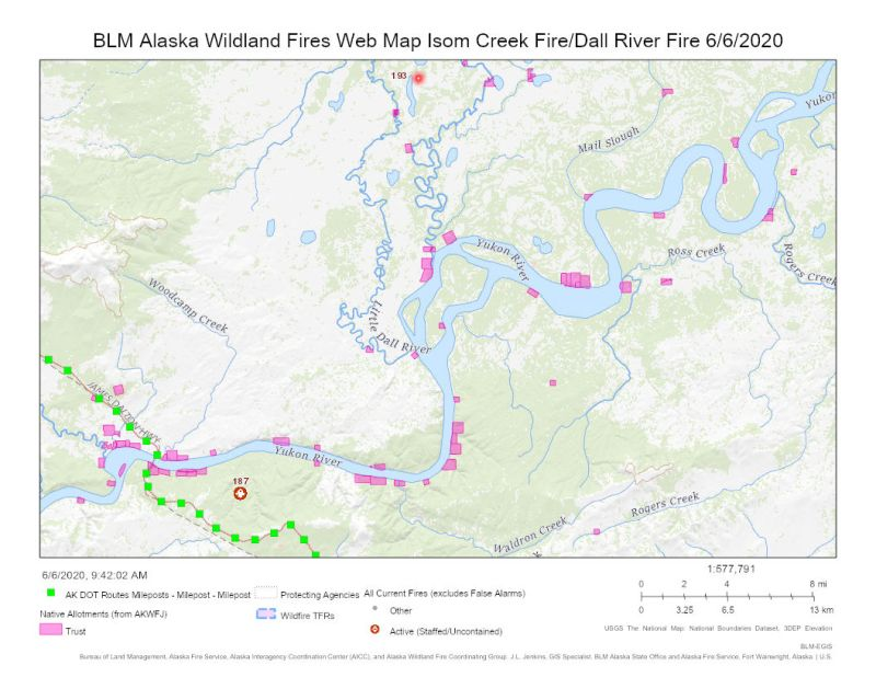 Map of Isom Creek and Dall River fires.
