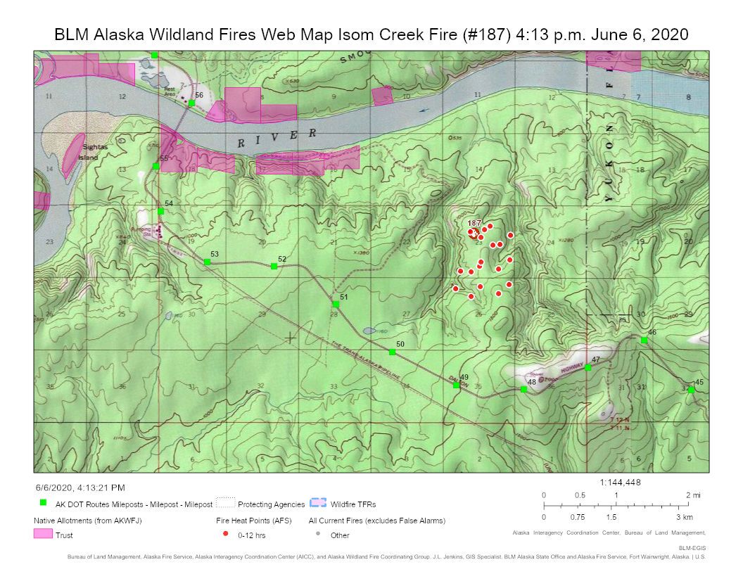 Map of Isom Creek Fire and Daltong Highway.