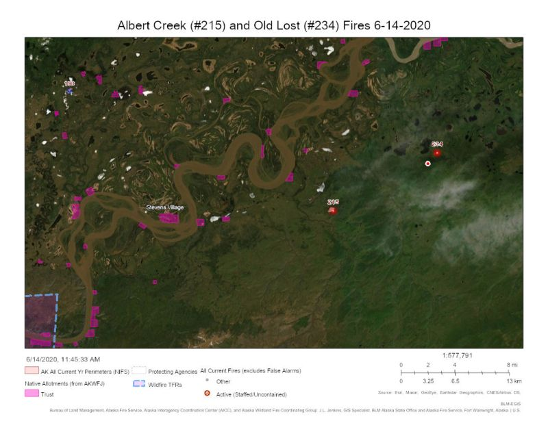 Map of Albert Creek and Old Lost Fires in Alaska 6-14-2020
