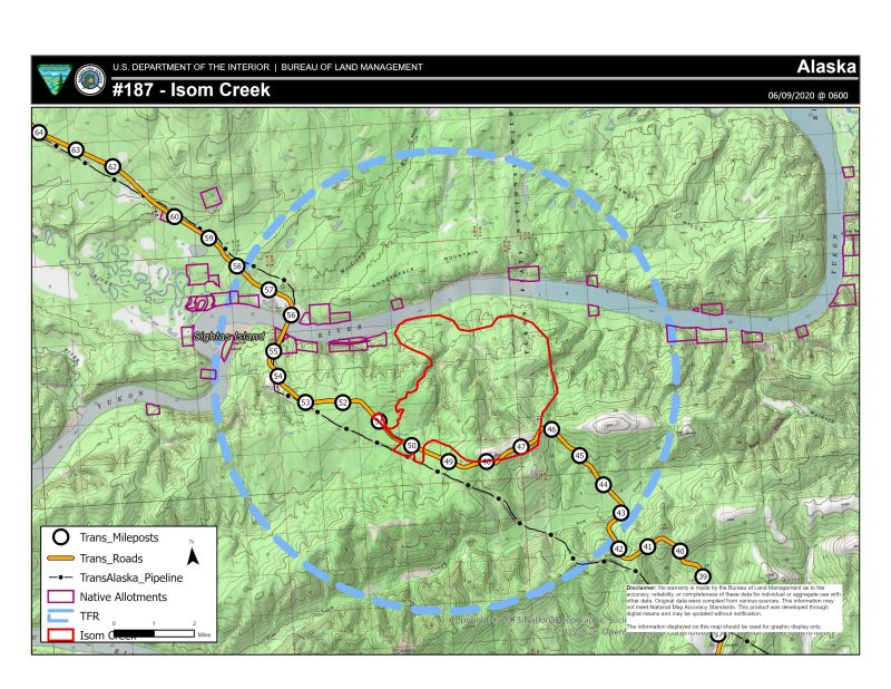 Map of Isom Creek Fire (#187) for June 9, 2020.