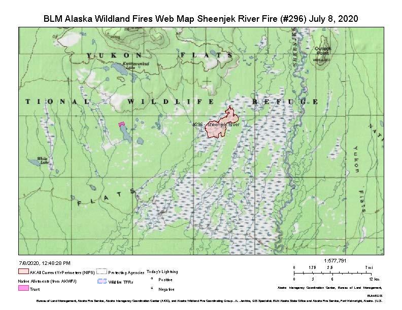 Map of Sheenjek River Fire on July 8, 2020.