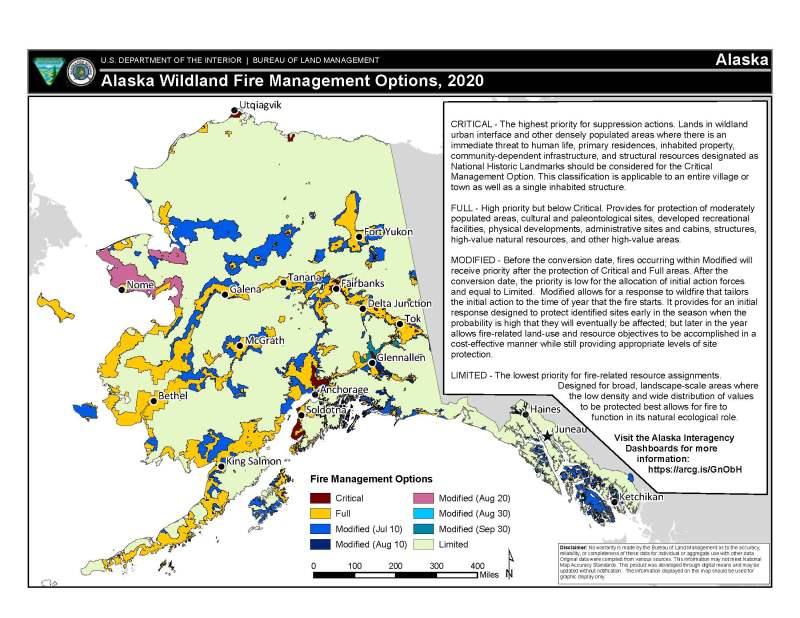 Map of Fire Management Options for Alaska.