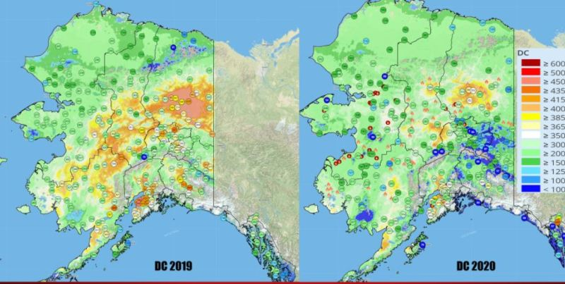 Graphic comparing drought code for 2019-2020.