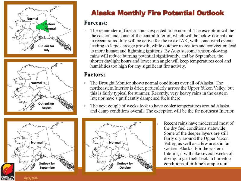 Alaska monthly fire potential outlook for July 2020.