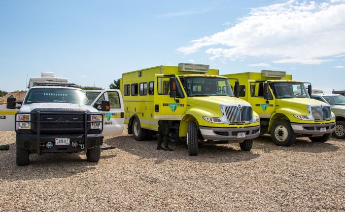 Photo of wildland firefighting crew buggies.