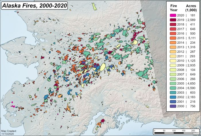 Map showing fire history and amount of acres from 2000 to 2020.