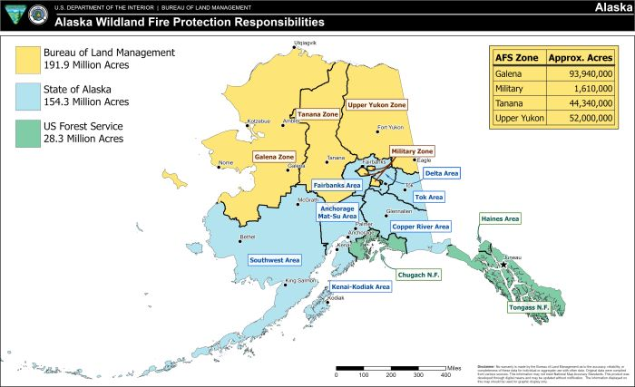 Multicolored map of Alaska showing fire protection boundaries by agency for 2021.