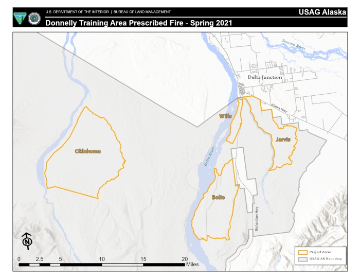 Map showing military training areas scheduled for prescribed burning in the spring of 2021.