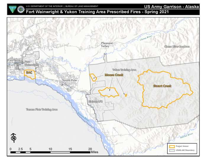 Map of military lands scheduled for prescribed burning.