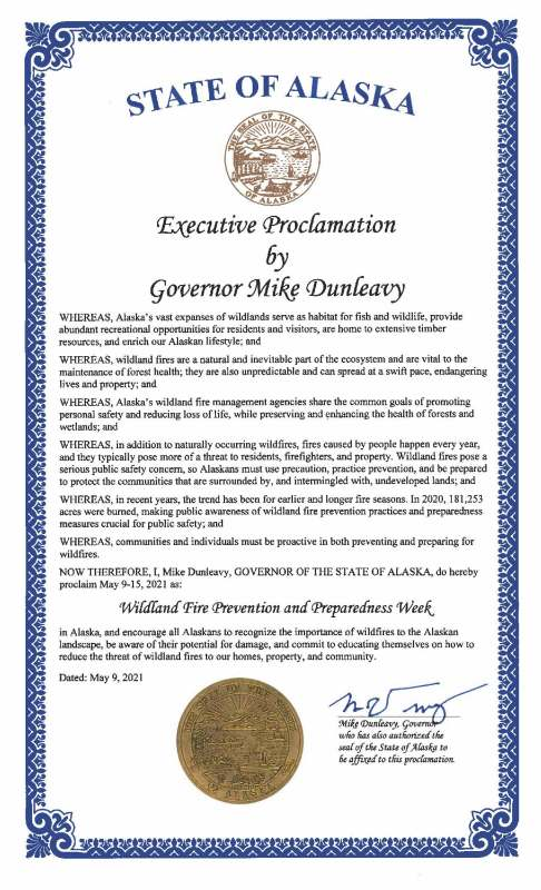 The proclamation signed by Governor Mike Dunleavy declaring May 9-15 as Wildland Fire Prevention and Preparedness Week in Alaska.