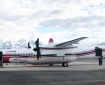 A Q-400 twin turboprop air tanker from Conair Group Inc. sits on the runway at the Palmer Airport on May 13, 2021. The Q-400 air tanker is one of two Conair air tankers the Alaska Division of Forestry has on contract this season for wildland firefighting in Alaska. This year, Conair substituted the new Q-400 tanker for one of the older Convair 580 air tankers that have been under contract with the Division of Forestry in past years. The Q-400 is faster, has a bigger capacity and is more fuel efficient than the Convair 580.
