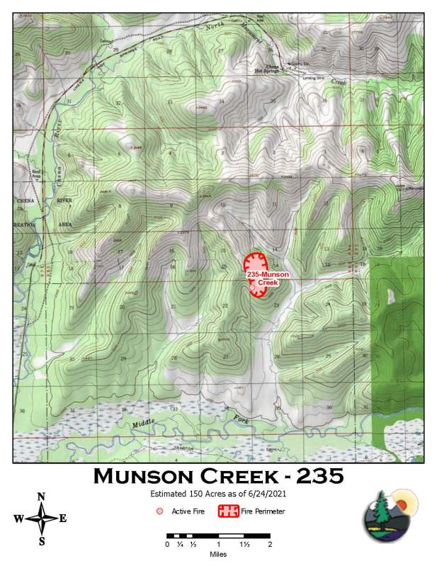 A map showing the location and perimeter of the Munson Creek Fire as of June 24, 2021.