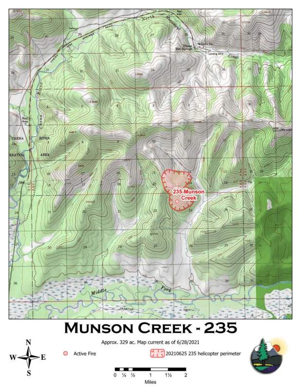 A map showing the location and perimeter of the 329-acre Munson Creek Fire.