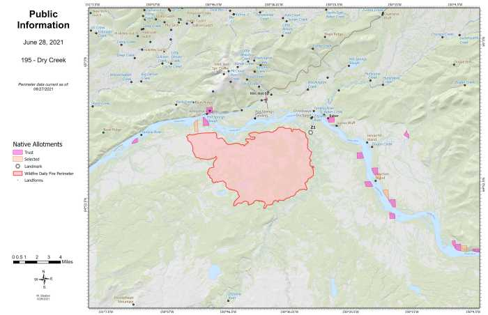 Map of Dry Creek Fire (#195) and surrounding area for June 28, 2021.
