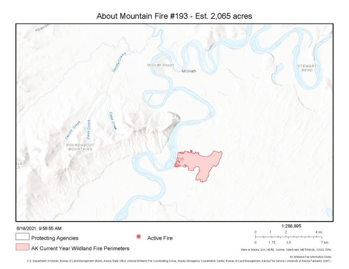 A map showing the location and perimeter of the About Mountain Fire approximately 6 miles south of McGrath along the Kuskokwim River.