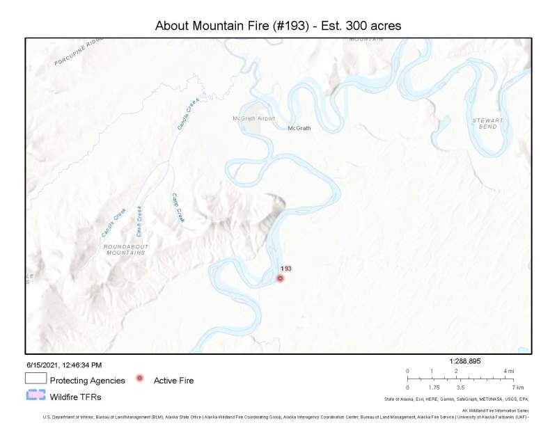 A map showing the location of the About Mountain Fire (#193) burning approximately 6 miles south of McGrath on the east side of the Kuskokwim River.
