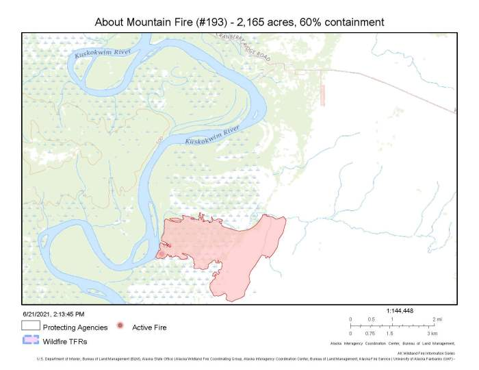 A map showing the perimeter of the 2,165-acre About Mountain Fire approximately 6 miles south of McGrath . You can see the location of the fire in context with Cranberry Ridge Road at the top of the map. The road leads out of McGrath to a cluster of private cabins that have structure protection measures in place should the fire threaten them.
