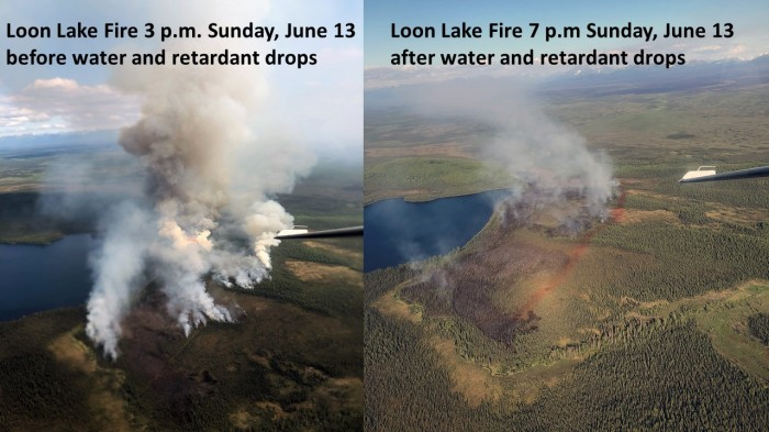 Two photos showing the results of water and retardant drops on the Loon Lake Fire