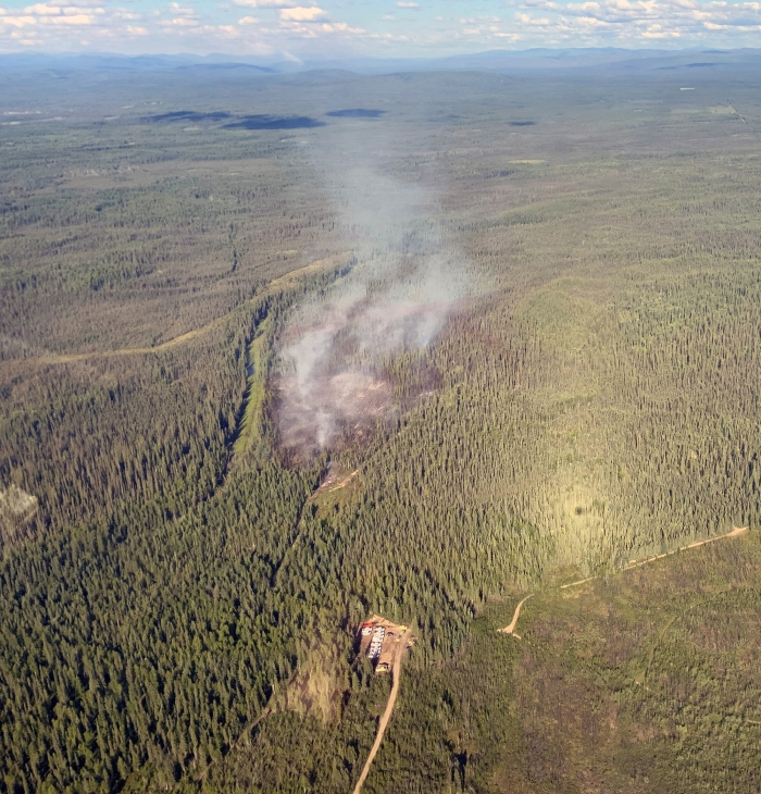 An aerial photo of smoke rising from a wildfire in a spruce forest.