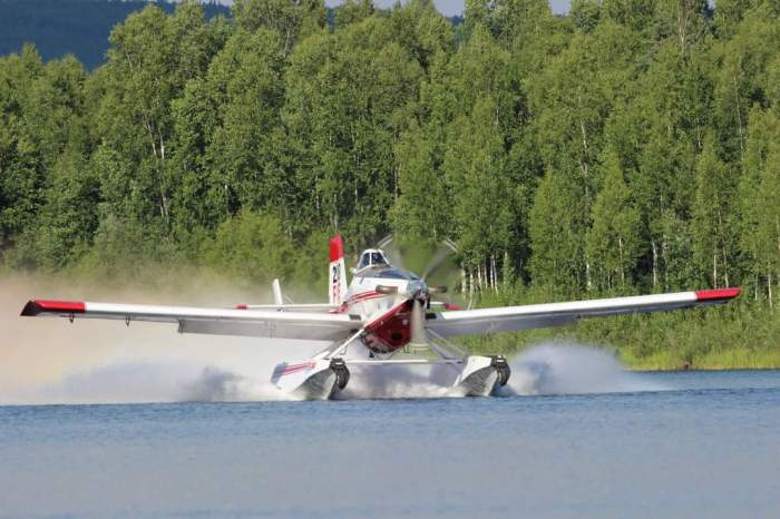 A Fire Boss water-scooping plane dips water from Chena Lakes during initial attack of the Brock Road Fire on Sunday, June 27, 2021. Becky Manbeck/BLM Alaska Fire Service