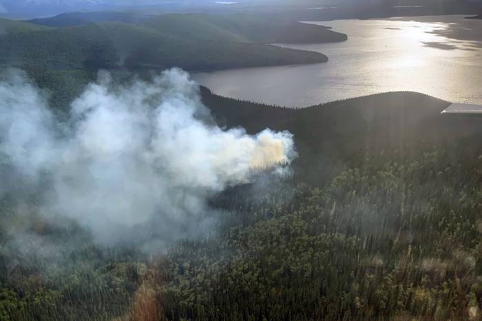 Smoke billowing up from a fire near a lake