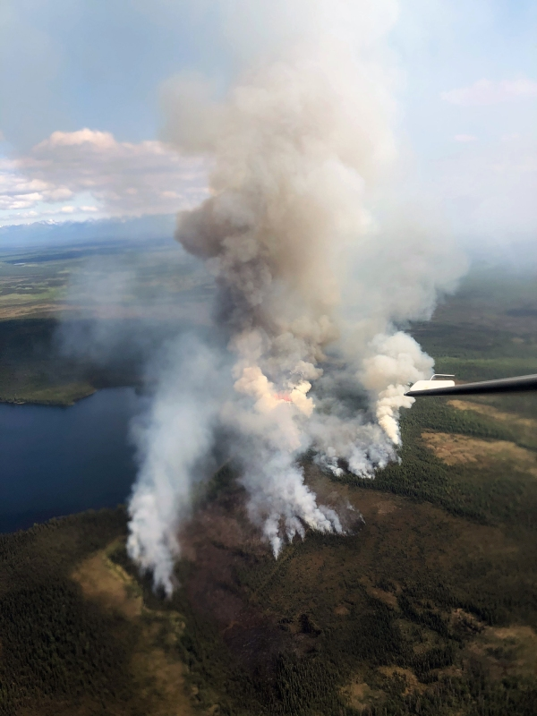 A photo of smoke being produced by the Loon Lake Fire (#180) taken by Alaska Division of Forestry Air Attack personnel Sunday, June 13, 2021 at approximately 3 p.m.