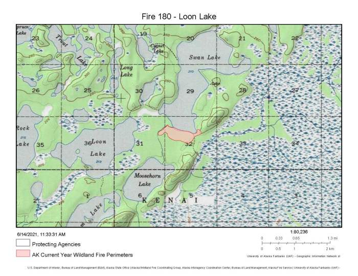 A map showing the location and perimeter of the approximately 75-acre Loon Lake Fire (#180) burning in the Kenai National Wildlife Refuge.