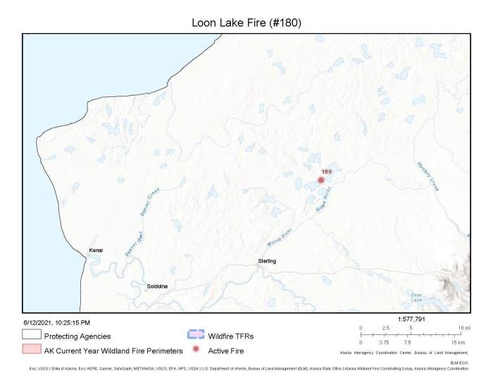 A map showing the location of the Loon Lake Fire (#180) burning about 10 1/2 miles northeast of Sterling.