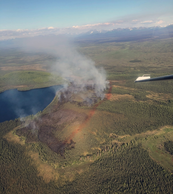 A 7 p.m. photo of the Loon Lake Fire (#180) following an aggessive aeiral attack that included water and retardant drops from multiple aircraft. The red retardant lines are meant to box the fire in and stall its progress while firefighters on the ground can construct a containment line.